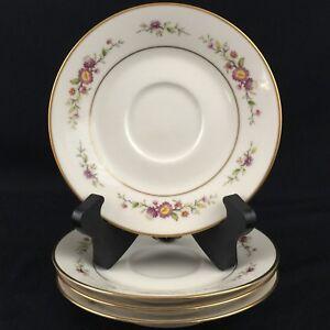 Set-of-4-Vintage-Saucer-Plates-6-034-by-Noritake-Asian-Song-Pink-Floral-7151-Japan