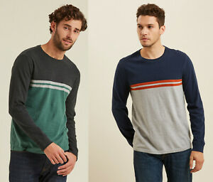FAT-FACE-Men-Crew-Round-Neck-Cotton-Stripe-Long-Sleeves-Colourblock-T-shirt-Top