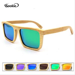 a0e43beaa8 Image is loading SOOKIE-Unisex-Square-Bamboo-Wood-Polarized-Sunglasses-Wood-