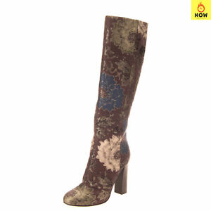 RRP-1130-ETRO-Jacquard-Knee-High-Boots-Size-38-UK-5-US-8-Metallic-Made-in-Italy