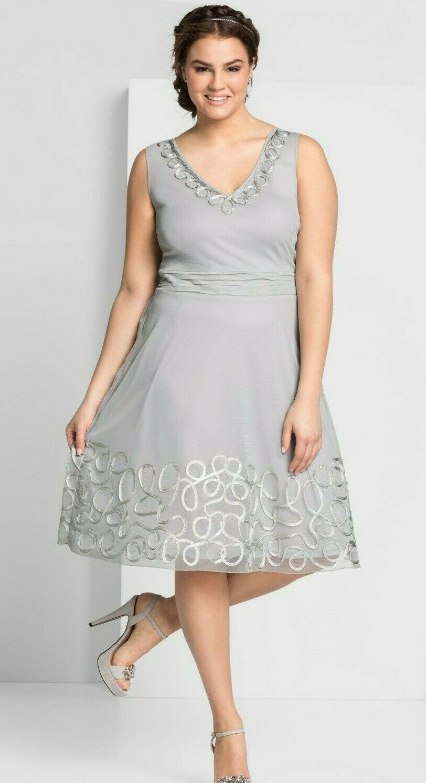 Sheego Kleid Gr.48+50 Damen Abendkleid grau Festlich knielang Cocktailkleid Stic
