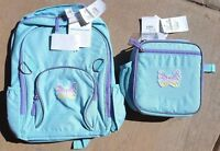 """Pottery Barn Kids """"butterfly"""" Fairfax Aqua / Purple Backpack And Lunch Box"""
