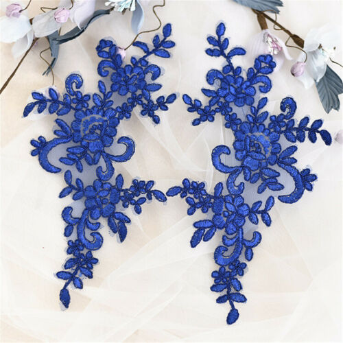 1//2 Pairs Bridal Embroidery Applique Wedding Lace Floral  Decoration Motif Trim