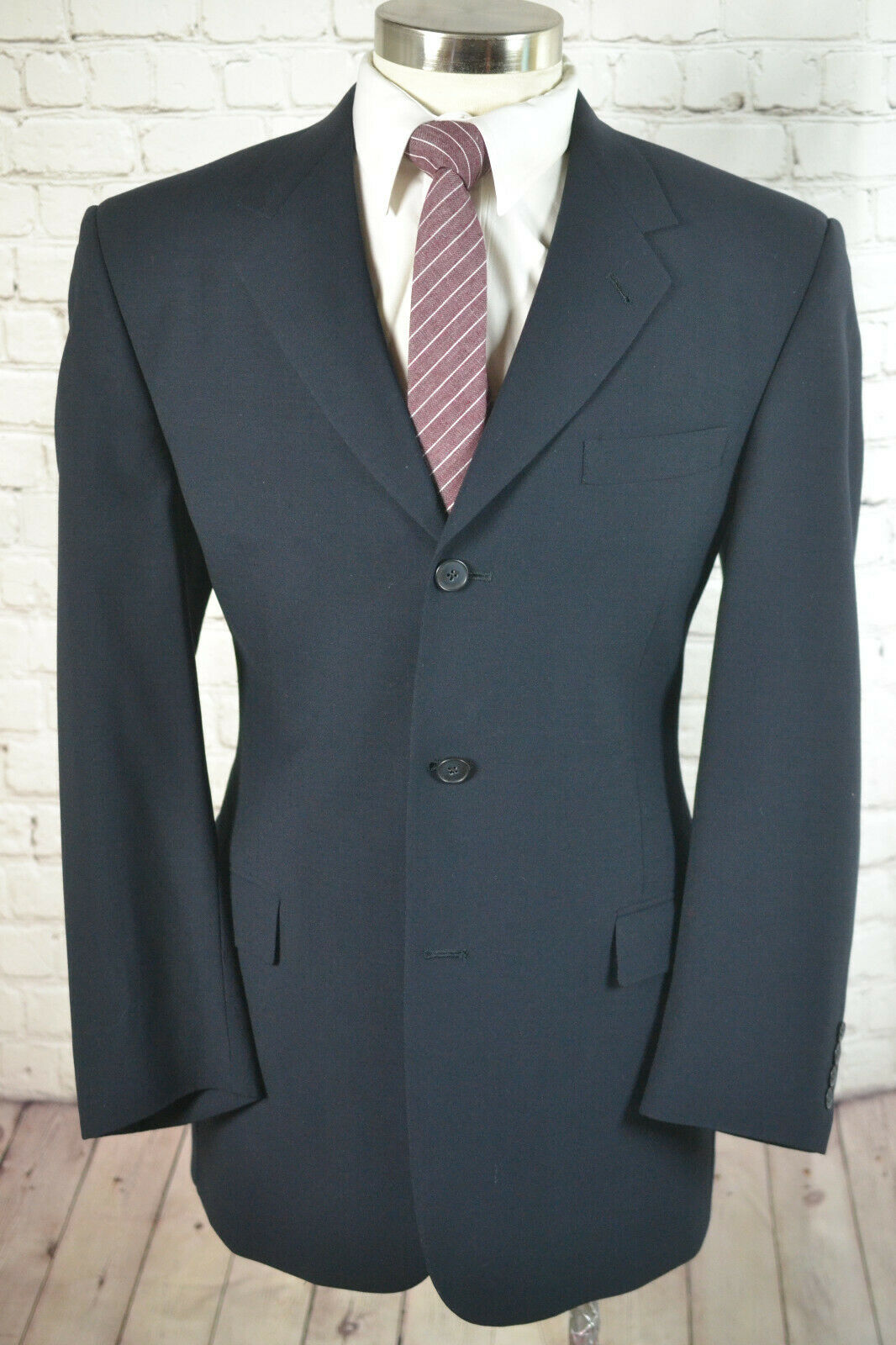 Kenneth Cole Mens Navy bluee 3 Button Wool Pleated Front 2 Piece Suit 41R 35x30