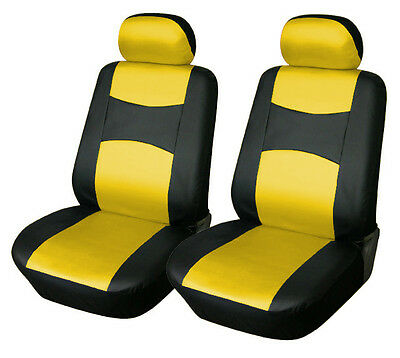 Leather like Two Front Car Seat Covers For Ford 159 Bk/Yellow