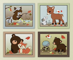 Image Is Loading Forest Friends Woodland Animal Owl Fox Kids Baby