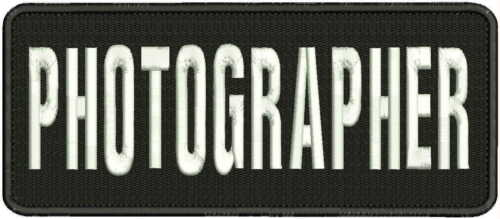 PHOTOGRAPHER embroidery patch 4x10 hook on back