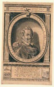 Kupferstich-um-1625-Portrait-Kaiser-Matthias-I-Prag-und-Frankfurt-in-Vignetten