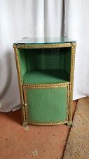 Vintage Lloyd Loom (Style) Glass Top Bedside Cabinet in Green & Gold Trim