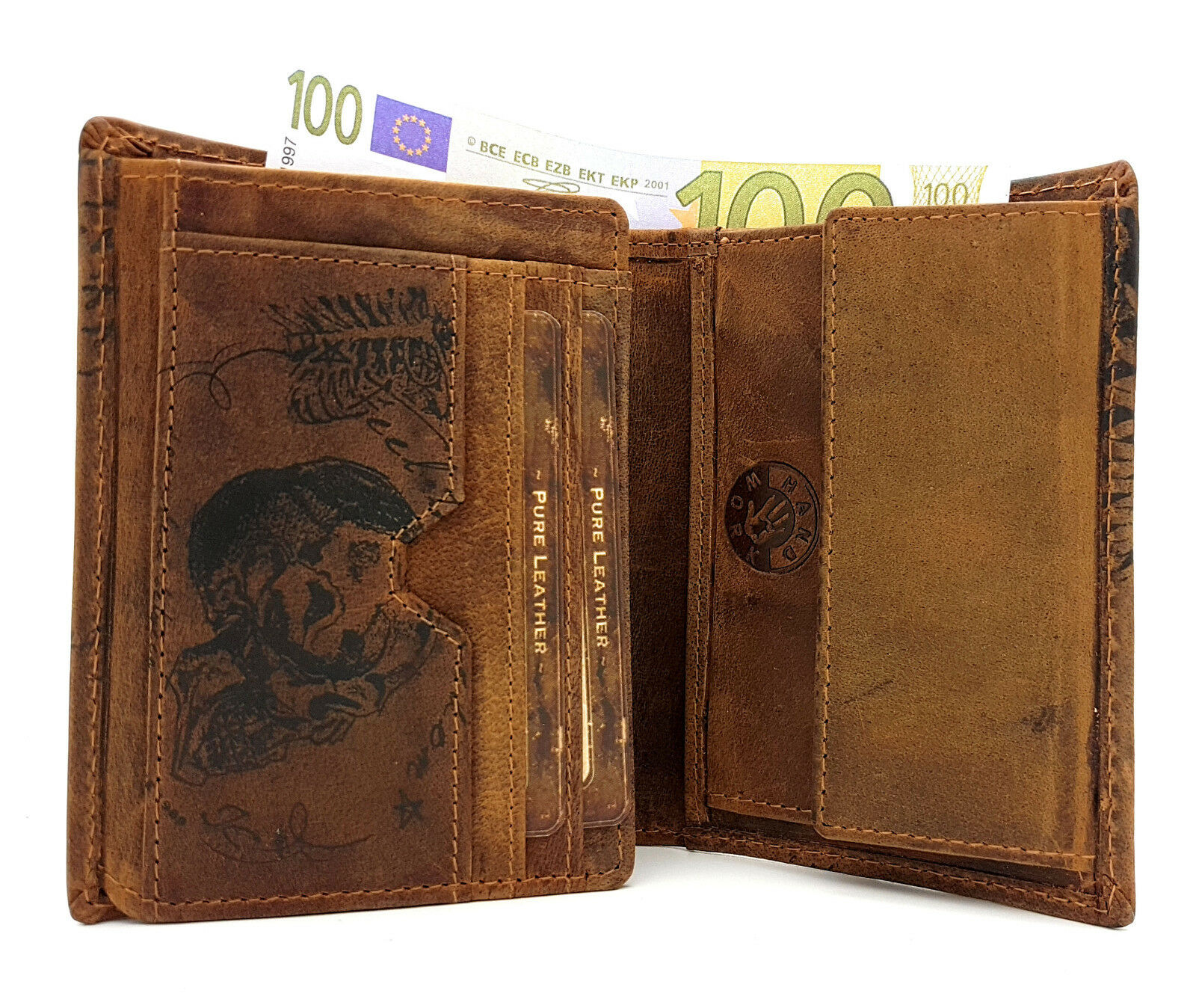 Echt Echt Echt Leder Geldbörse Hunterleder Portemonnaie Totenkopf Schädel Skull | Praktisch Und Wirtschaftlich  df10b0