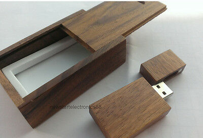 16GB Wooden USB Flash Drive Brown Walnut Wood 16G Pen Drive Stick Wood Gift Case