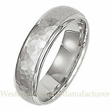 18K WHITE GOLD MENS MAN WEDDING BAND DOMED HAMMERED FINISH MANS RING 5MM