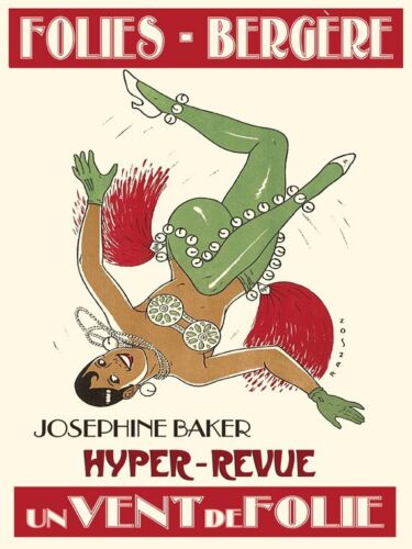 Josephine Baker Folies Bergere Show Music Dance Vintage Poster Repro FREE SH