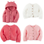 NWT-Carters-Infant-Girl-039-s-Chunky-Purl-Knit-Cardigan-Sweater-White-Pink-NB-12-Mo thumbnail 1