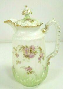 Antique-Limoges-France-8-034-Tall-Pitcher-w-Lid-Vase-Pink-Roses-Floral-Green-Tint