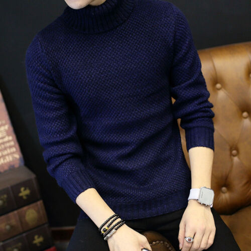 Men Roll Turtle Neck Jumper Wool Blend Knitted Thermal Sweater Pullover Woolwork