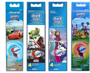 Auswahl 4 Stück Kinder Braun Oral B Stage Power Aufsteckbürsten Oralb