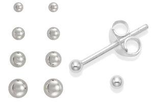 Pair-SILVER-Plated-EARRINGS-Plain-Ball-Stud-WOMENS-MENS-Small-Tiny