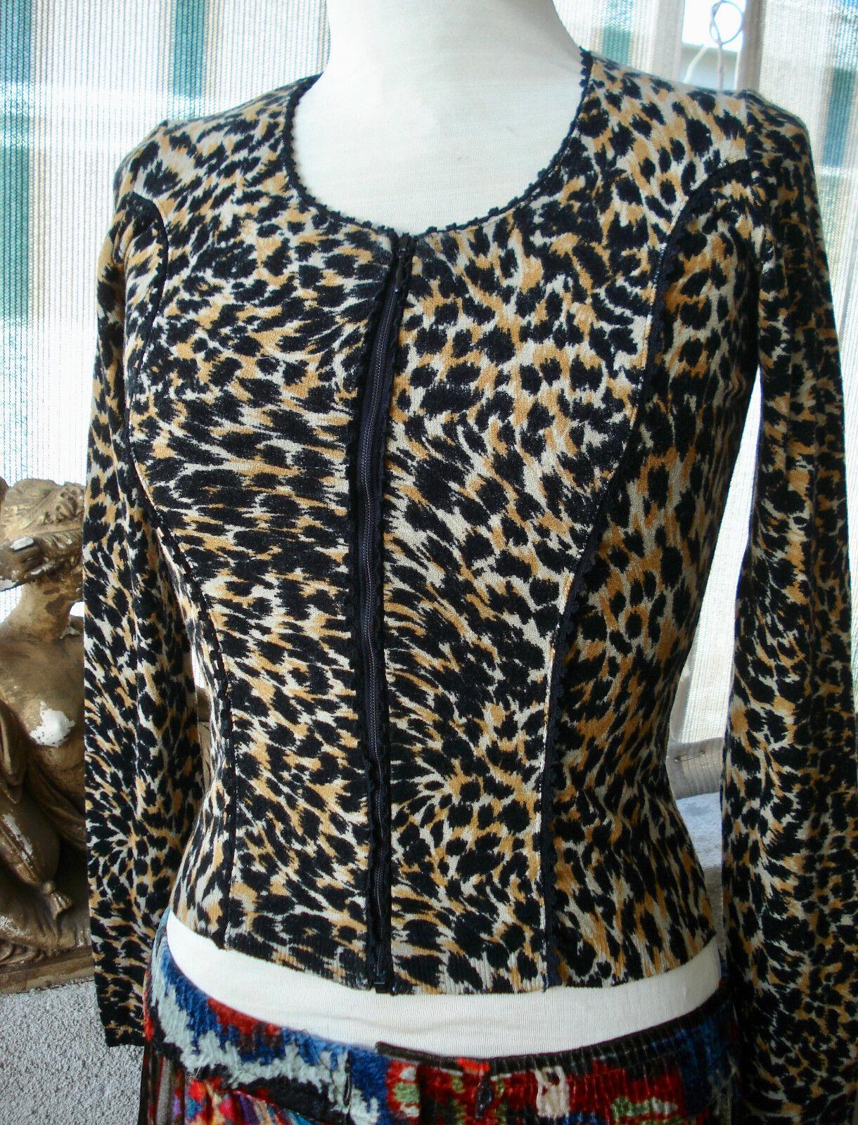blueMARINE  Animal Print Zipper Cardigan Sweater Sweater Sweater Top  40 133d11