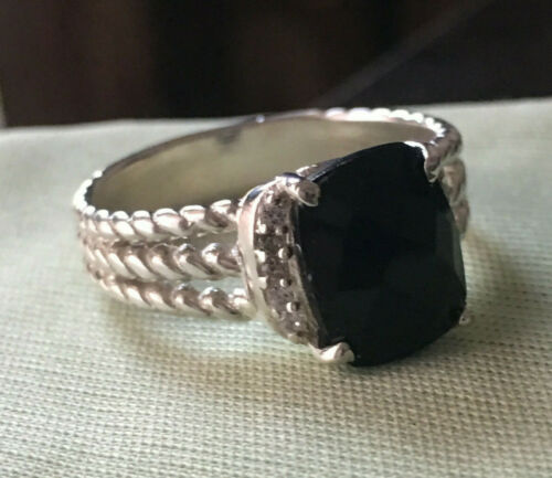 Details about  /Petite Wheaton Ring With Natural Black Onyx And Diamonds 10x8mm Size 6 in Silver