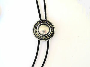 ANGEL FIRE SILVER,GOLD,BRAIDED BLACK LEATHER BOLO TIE,NECKLACE