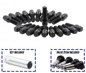 20x 12x1.5 BLACK SPLINE CONE SEAT TUNER LUG BOLTS 40MM SHANK BMW MINI MERCEDES