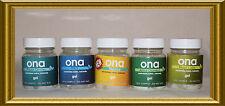 ONA Gel muestra Conjunto de 5 jarras Eliminador De Olores Aromas 50ml Hidroponía crecer Habitación