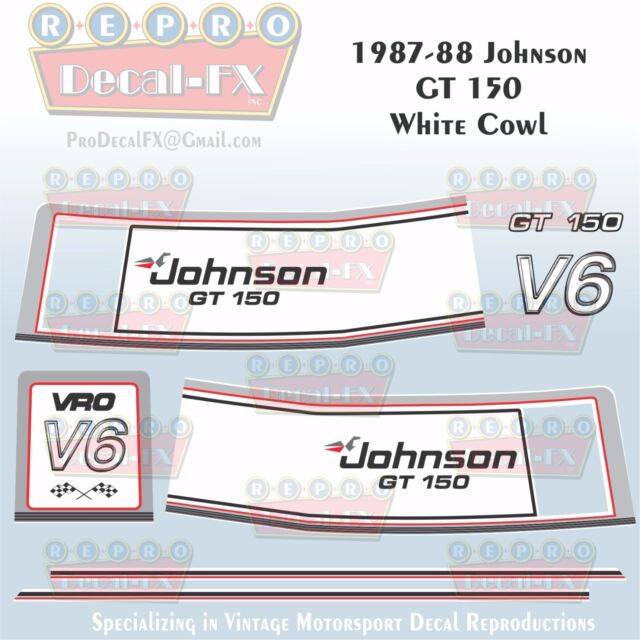 1987-88 Johnson GT150 White Cowl V6 Sea-Horse Outboard Repro 8 Pc Vinyl Decals