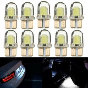 10pc-T10-194-168-W5W-COB-4-SMD-LED-CANBUS-Silica-Bright-White-License-Light-Bulb