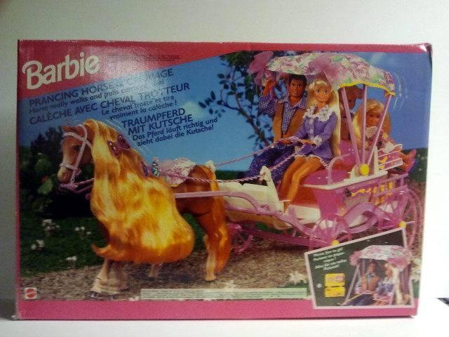 Muy raras Barbie cabalgando caballo y Carraige - 1994