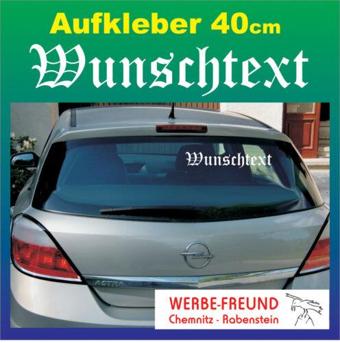 "Auto Heckscheiben-Aufkleber /""Wunschtext/"" 40cm weiß"