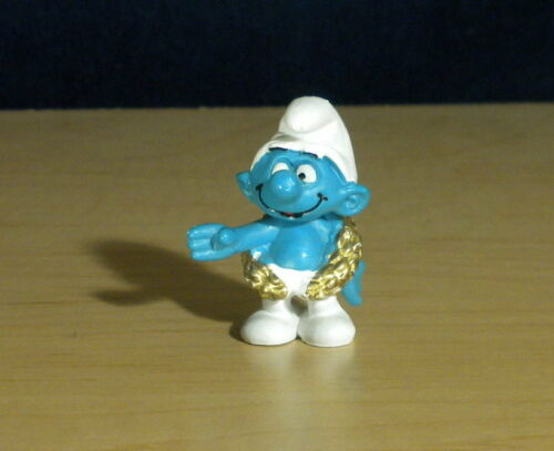 Smurfs Champion Smurf 20058 Gold Wreath Olympic Figure Vintage Toy PVC Figurine