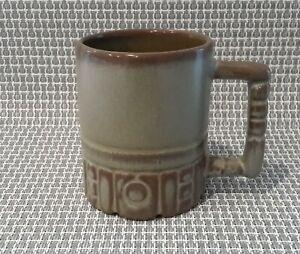 Frankoma-C4-Plainsman-Brown-Grey-Coffee-Mug-Cup-Aztec-Mayan-EUC