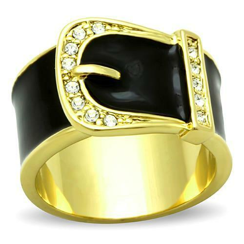 Women's Black & Gold Crystal Belt Buckle Ring Stainless Steel sizes 5 6 7 8 9 10