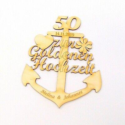 Goldene Hochzeit Anker Aus Holz 50 Jahre Mit Gravur Personalisiert Geschenk Ebay