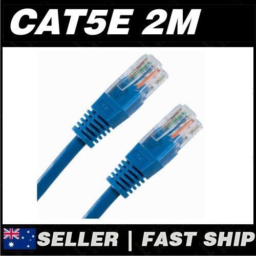 1x 2m Cat 5 5E Cat5 Cat5E Blue  Ethernet Network LAN Patch Cable Lead