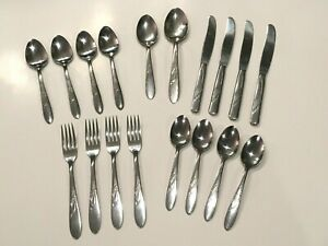 Vintage-MCM-H-B-Co-Stainless-Steel-039-Heather-039-Pattern-Flatware-18-pcs