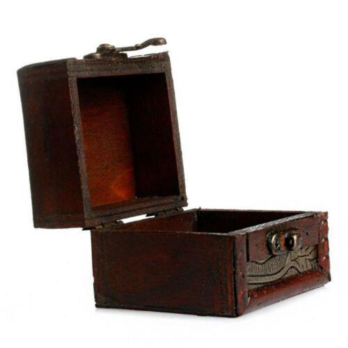 Vintage Small Wooden Lock Jewelry Holder Storage Necklace Bracelet Gift Box Case