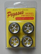T's CHROME RIMS w TIRES PEGASUS 1:24 1:25 CAR MODEL ACCESSORY 1274