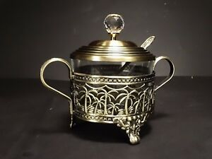 Image Is Loading Set Turkish Tea Gl Sugar Bowl Spoon Decorative