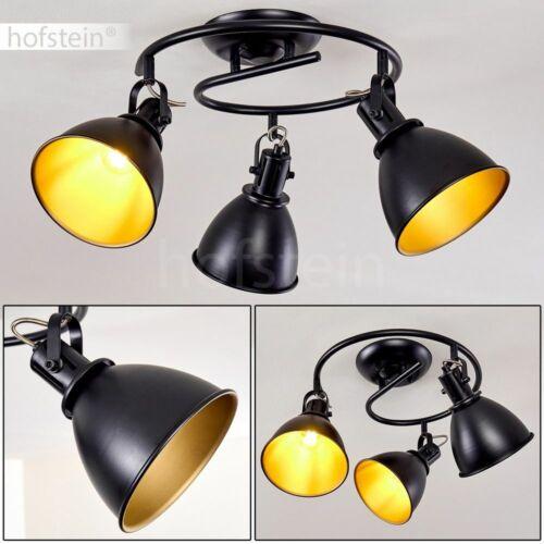 Decken Lampe Vintage Flur Strahler schwarz-gold Wohn Schlaf Zimmer Leuchte rund