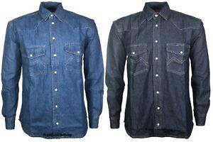 New-Mens-Denim-Shirt-Long-Sleeves-Collar-Cotton-Casual-Top-Jeans-T-Shirt-S-2XL