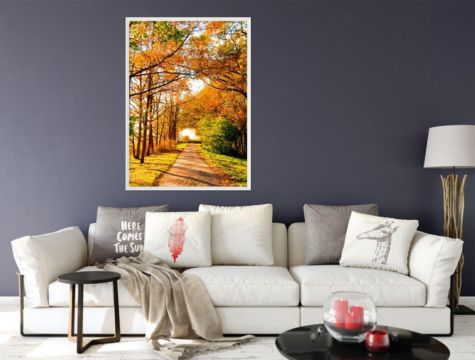 3D Herbst Ahorn Straße 6 Gerahmt Poster Daheim Dekor Drucken Malerei Kunst AJ