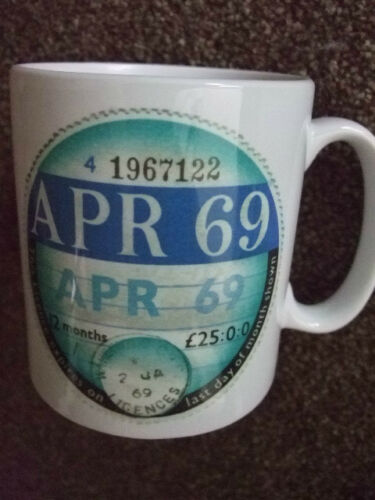 ideal birthday gift Tax Disc ceramic mug April 1969