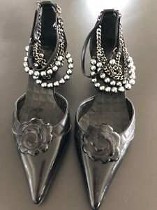 Chanel-black-quilted-kitten-heels-RARE-COLLECTOR-ITEM-chains-pearls-camellia