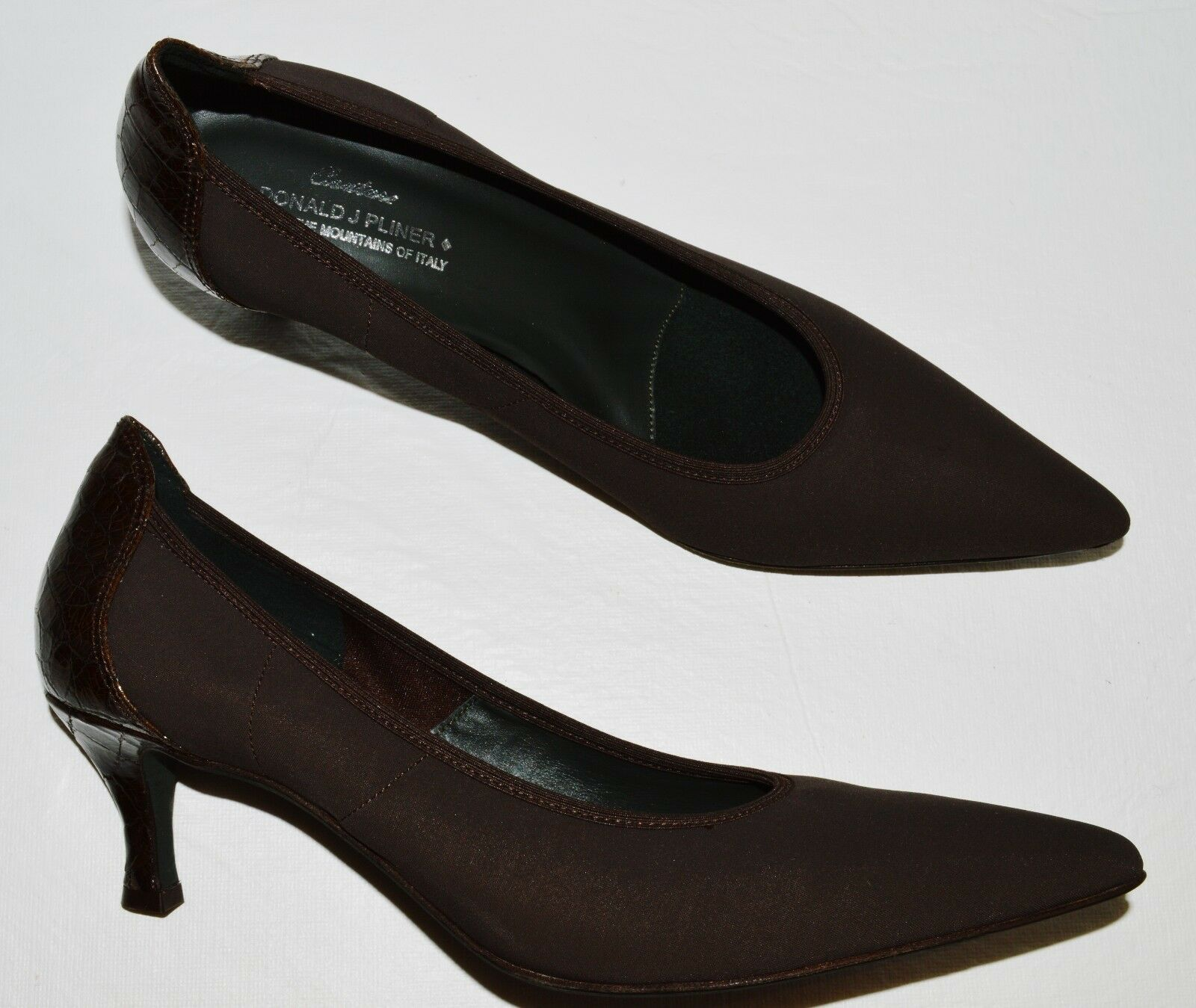 DONALD J J J PLINER COUTURE EMMY NEW 9.5 N BROWN FABRIC PATENT LEATHER PUMPS HEELS 1f57ee