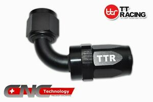 -10 AN AN-10 Alloy 90 Degree Reusable Swivel Fitting for Fuel Hose Line Black