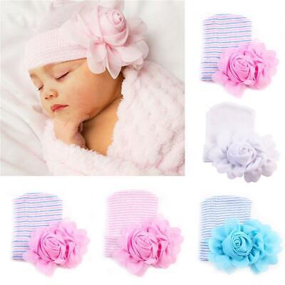Newborn Baby Girls Toddler Hospital Cap Infant Flower Beanie Hat