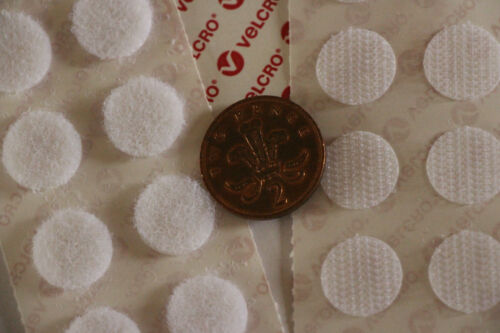 Self Adhesive WHITE Hook /& Loop Coins 13mm SACOIN® or 16mm VELCRO® Dots Spots