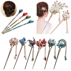 Charm-Women-Rhinestone-Handmade-Hair-Stick-Hair-Chopsticks-Hairpin-Pin-Chignon